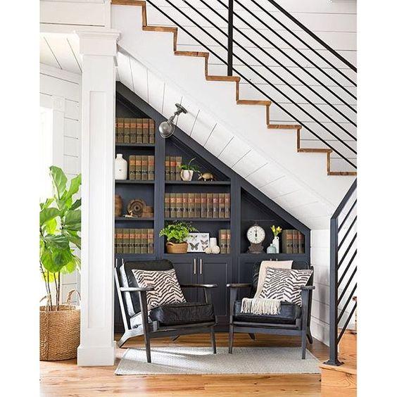 Artesanato Região Sul Do Brasil ~ Como aproveitar o espaço embaixo da escada? StudioKT